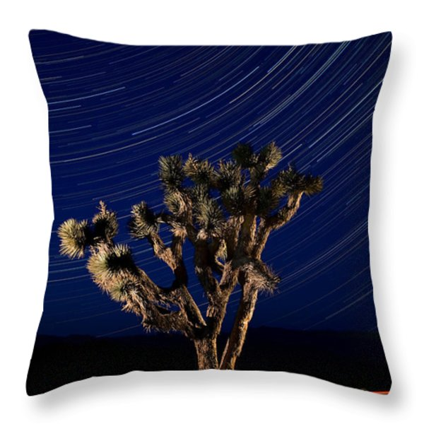 Joshua Tree And Star Trails Throw Pillow by Steve Gadomski