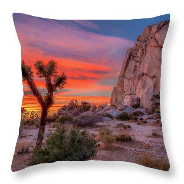 Joshua Tree Sunset Throw Pillow by Peter Tellone