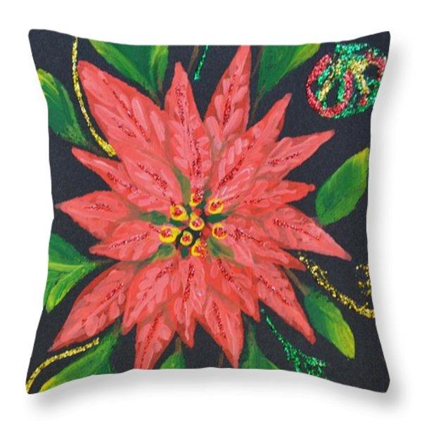 Joy Of Holidays Throw Pillow by Georgeta  Blanaru
