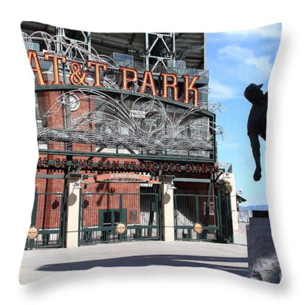 Juan Marichal at San Francisco ATT Park . 7D7639 Throw Pillow by Wingsdomain Art and Photography
