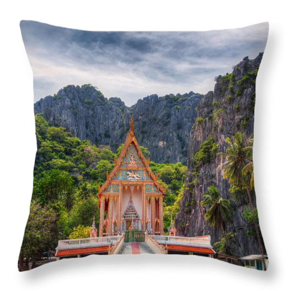 Jungle Temple Throw Pillow by Adrian Evans