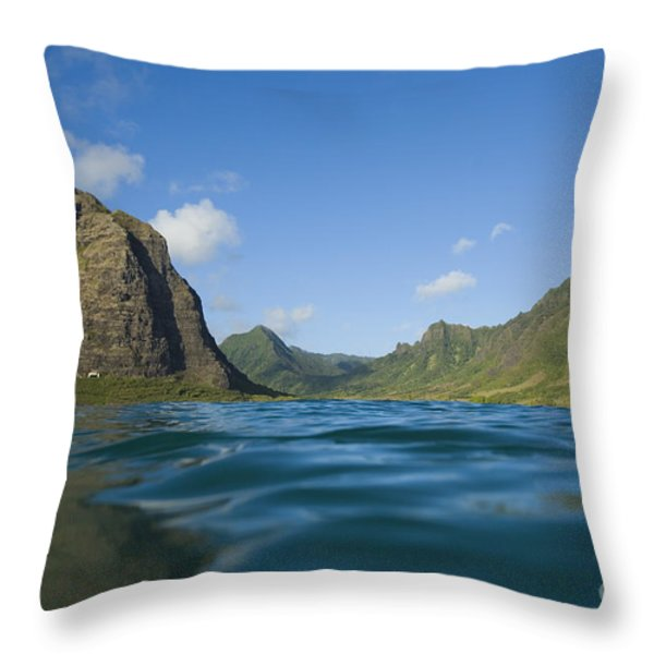 Kaaawa Valley from Ocean Throw Pillow by Dana Edmunds - Printscapes
