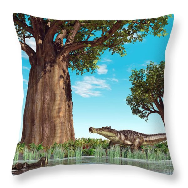 Kaprosuchus Crocodyliforms Throw Pillow by Walter Myers