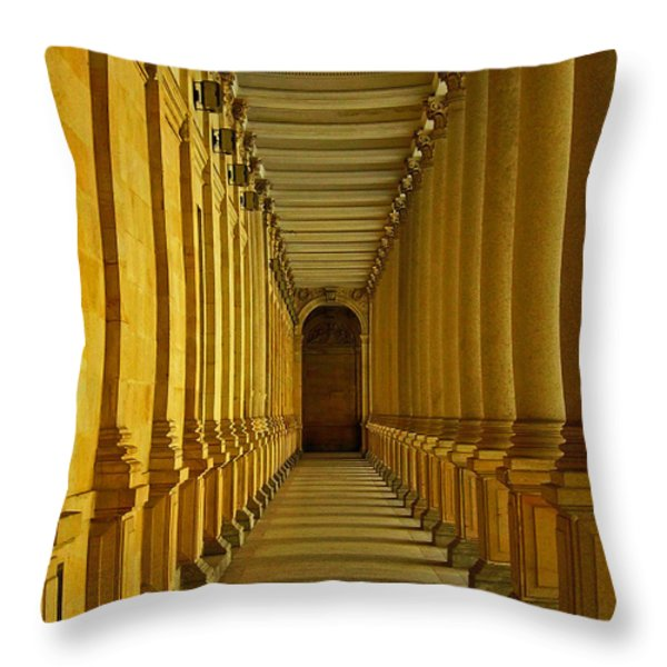 Karlovy Vary Colonnade Throw Pillow by Juergen Weiss