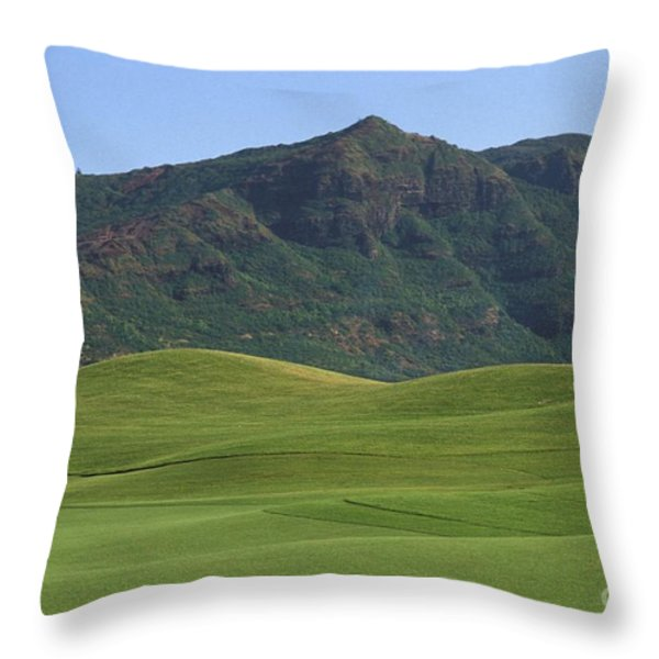 Kauai Marriott Golf Cours Throw Pillow by William Waterfall - Printscapes