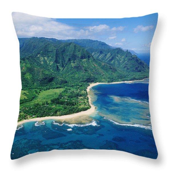 Kauai, Tunnels Beach Throw Pillow by Greg Vaughn - Printscapes