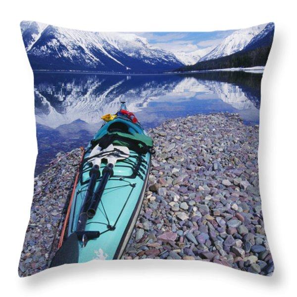 Kayak Ashore Throw Pillow by Bill Brennan - Printscapes