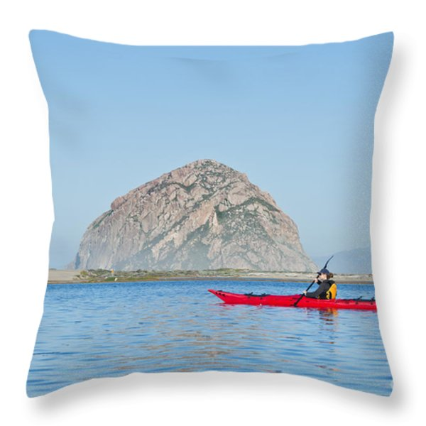 Kayaker In Morro Bay Throw Pillow by Bill Brennan - Printscapes