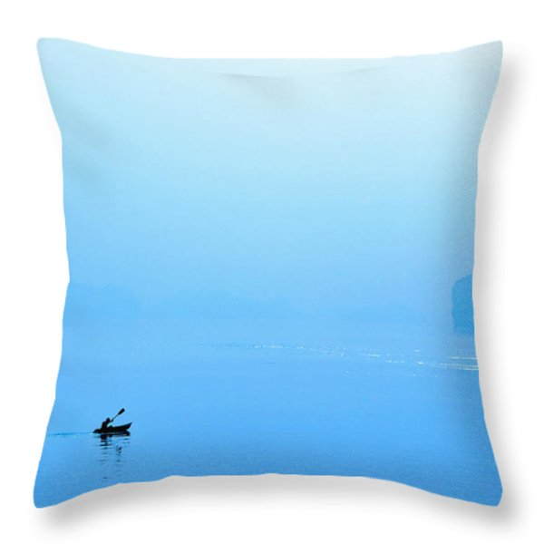 Kayaking Throw Pillow by Skip Nall