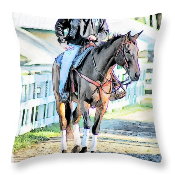 Keeneland Pony Boy Throw Pillow by Tom Schmidt