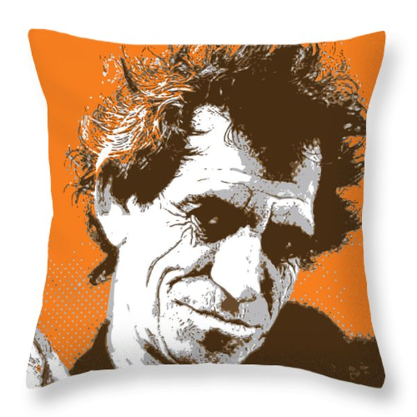 Keith Richards - Pop Art Portrait Throw Pillow by Martin Deane