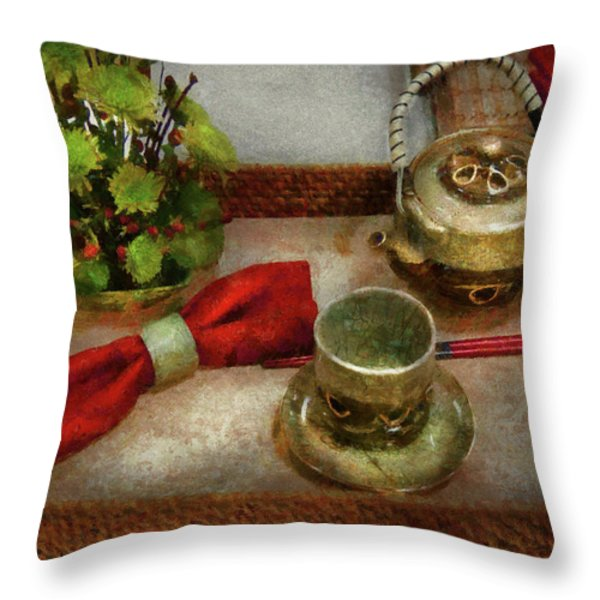 Kettle - Formal tea ceremony Throw Pillow by Mike Savad