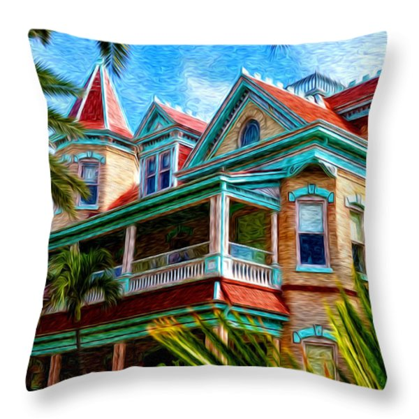 Key West Southern Most Hotel Throw Pillow by Bill Cannon