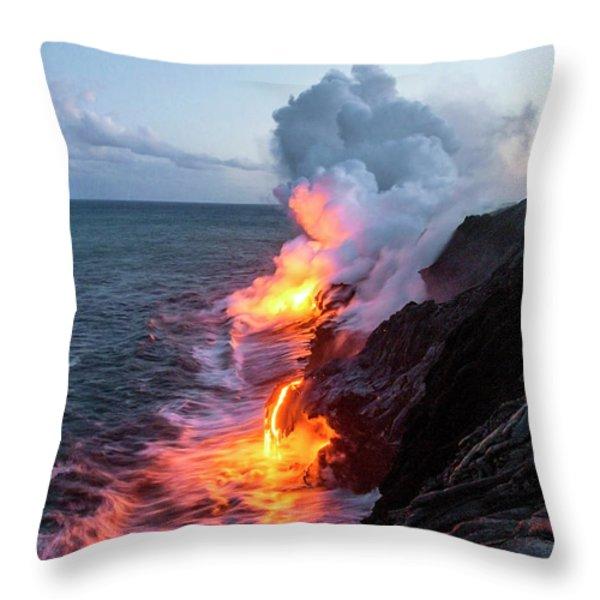 Kilauea Volcano Lava Flow Sea Entry 3- The Big Island Hawaii Throw Pillow by Brian Harig