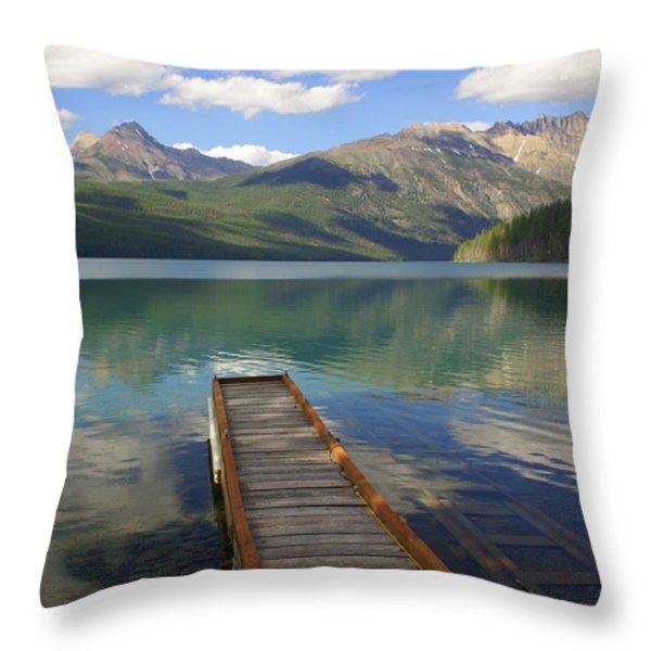 Kintla Lake Dock Throw Pillow by Marty Koch