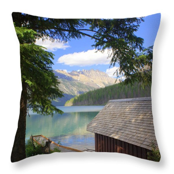 Kintla Lake Ranger Station Glacier National Park Throw Pillow by Marty Koch
