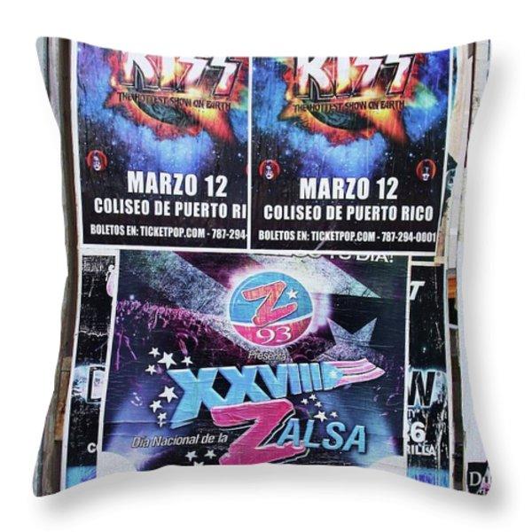 Kiss Concert San Juan Throw Pillow by Anna Villarreal Garbis