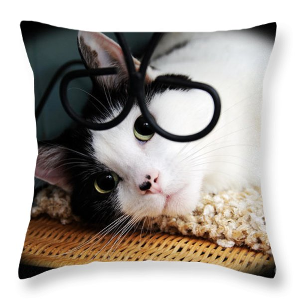 Kitty Cuteness Soft And Sweet Throw Pillow by Andee Design