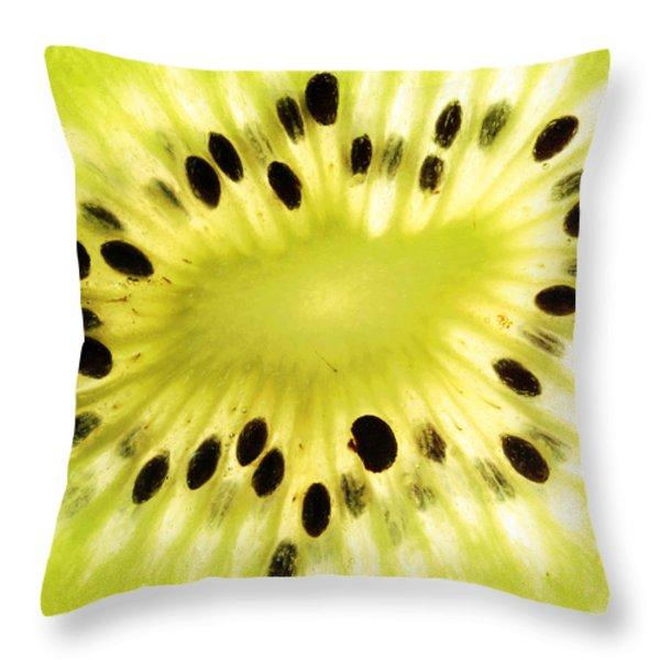 Kiwi Fruit Throw Pillow by Paul Ge