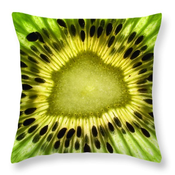 Kiwi Up Close Throw Pillow by June Marie Sobrito