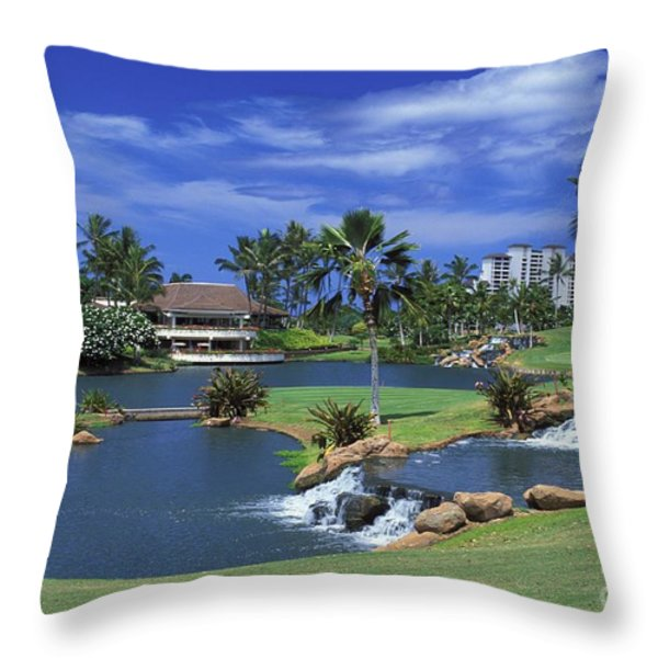 KoOlinas 18th Hole Throw Pillow by Peter French - Printscapes