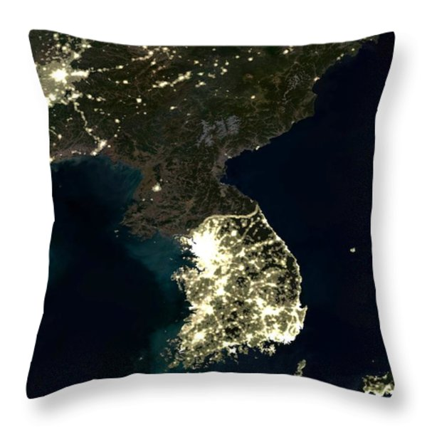 Korean Peninsula Throw Pillow by Planet Observer and SPL and Photo Researchers