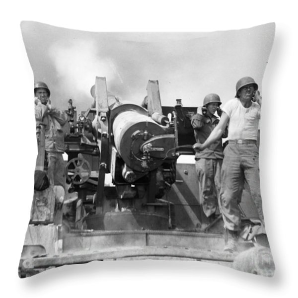 Korean War: Artillerymen Throw Pillow by Granger
