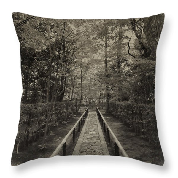 Koto-in Zen Temple Forest Path - Kyoto Japan Throw Pillow by Daniel Hagerman