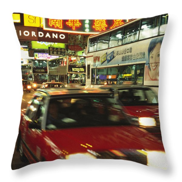 Kowloon Street Scene At Night With Neon Throw Pillow by Justin Guariglia