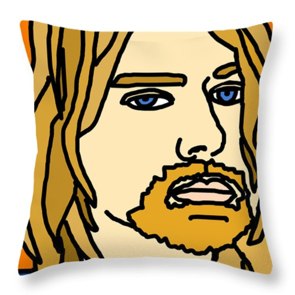 Kurt Kobain Throw Pillow by Jera Sky