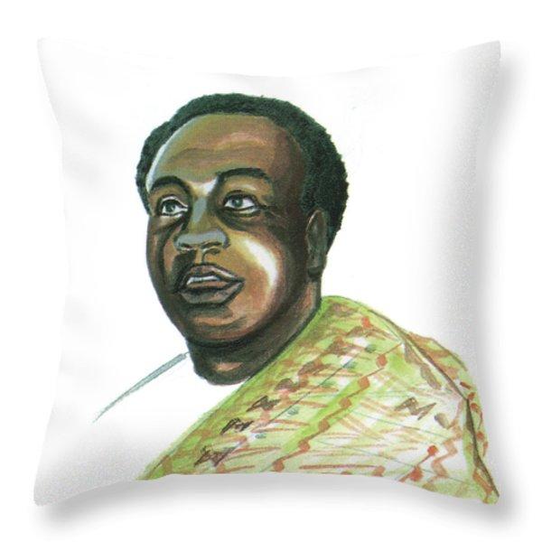 Kwame Nkrumah Throw Pillow by Emmanuel Baliyanga