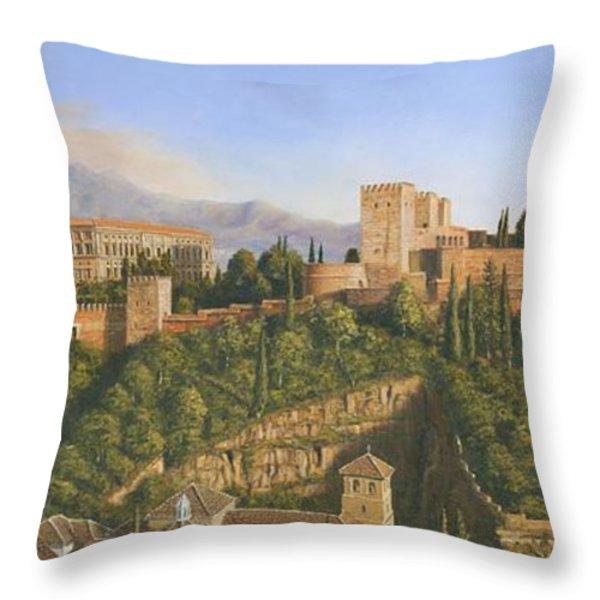 La Alhambra Granada Spain Throw Pillow by Richard Harpum