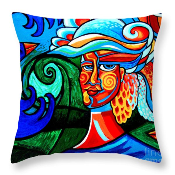 La Bastille Bouffant Bird Lady Throw Pillow by Genevieve Esson