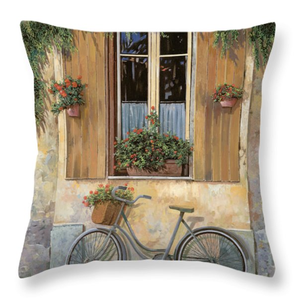 la bici Throw Pillow by Guido Borelli