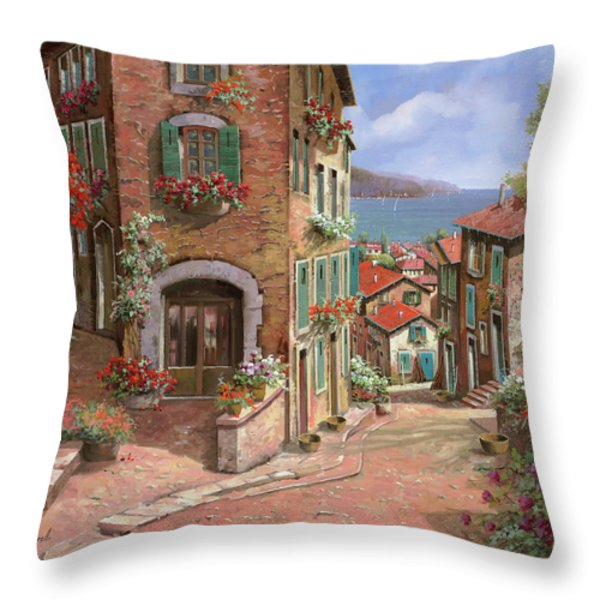 la discesa al mare Throw Pillow by Guido Borelli