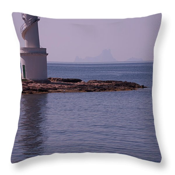 La Sabina Lighthouse Formentera and the island of Es Vedra Throw Pillow by John Edwards
