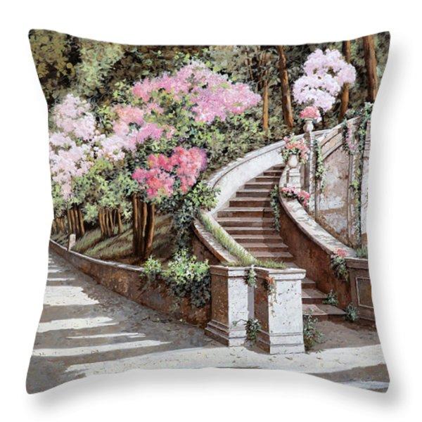 La Scalinata E I Fiori Rosa Throw Pillow by Guido Borelli