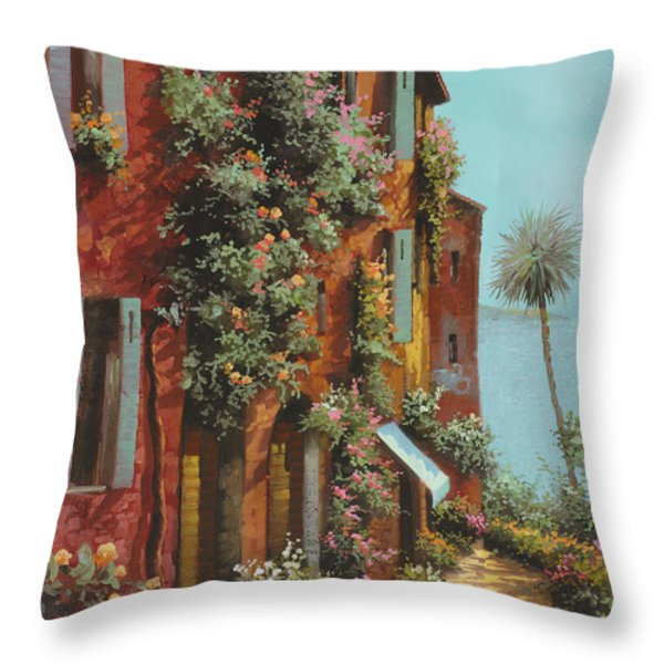 la strada verso il lago Throw Pillow by Guido Borelli