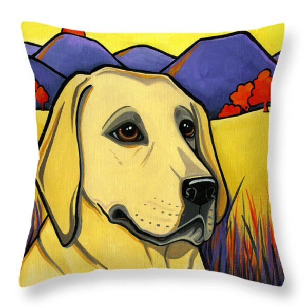 Labrador Throw Pillow by Leanne Wilkes