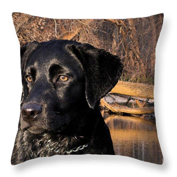 Labrador Retriever Throw Pillow by Cathy  Beharriell