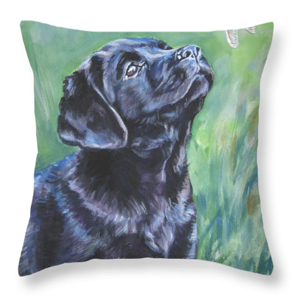 Labrador Retriever Pup And Dragonfly Throw Pillow by L A Shepard