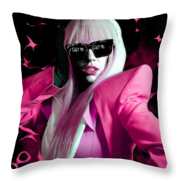 Lady Gaga by GBS Throw Pillow by Anibal Diaz