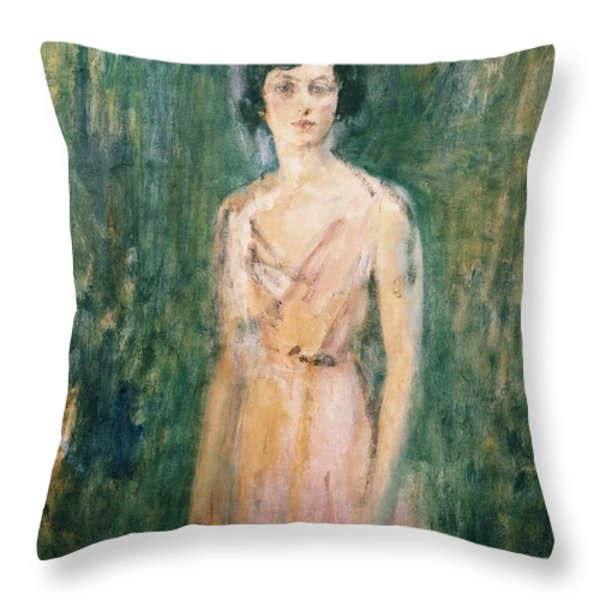 Lady In A Pink Dress Throw Pillow by Ambrose McEvoy