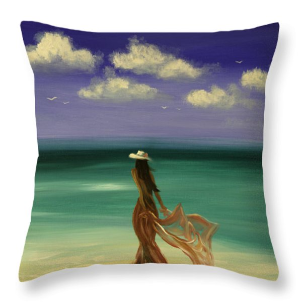 Lady In Red Throw Pillow by Gina De Gorna