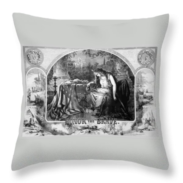 Lady Liberty Mourns During The Civil War Throw Pillow by War Is Hell Store