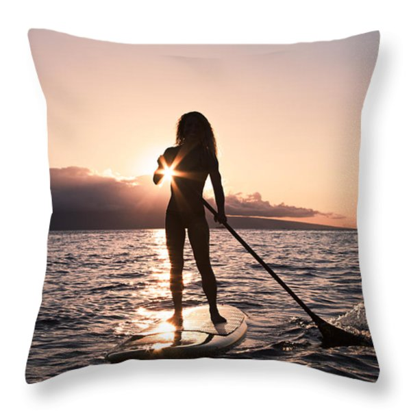 Lady Paddling Throw Pillow by Dave Fleetham - Printscapes