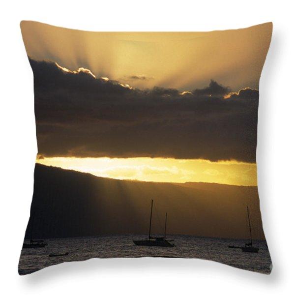 Lahaina Sunset - Maui Throw Pillow by Sandra Bronstein