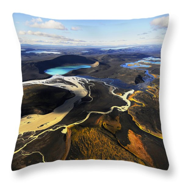 Lake In An Old Volcanic Crater Or Throw Pillow by Mattias Klum
