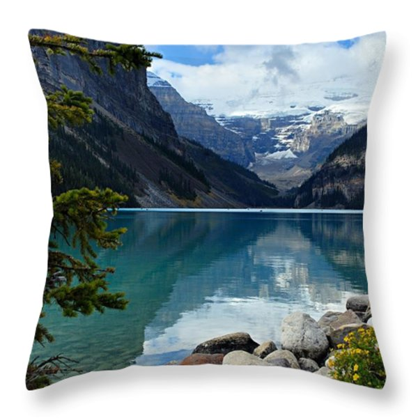 Lake Louise 2 Throw Pillow by Larry Ricker