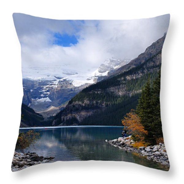 Lake Louise Throw Pillow by Larry Ricker